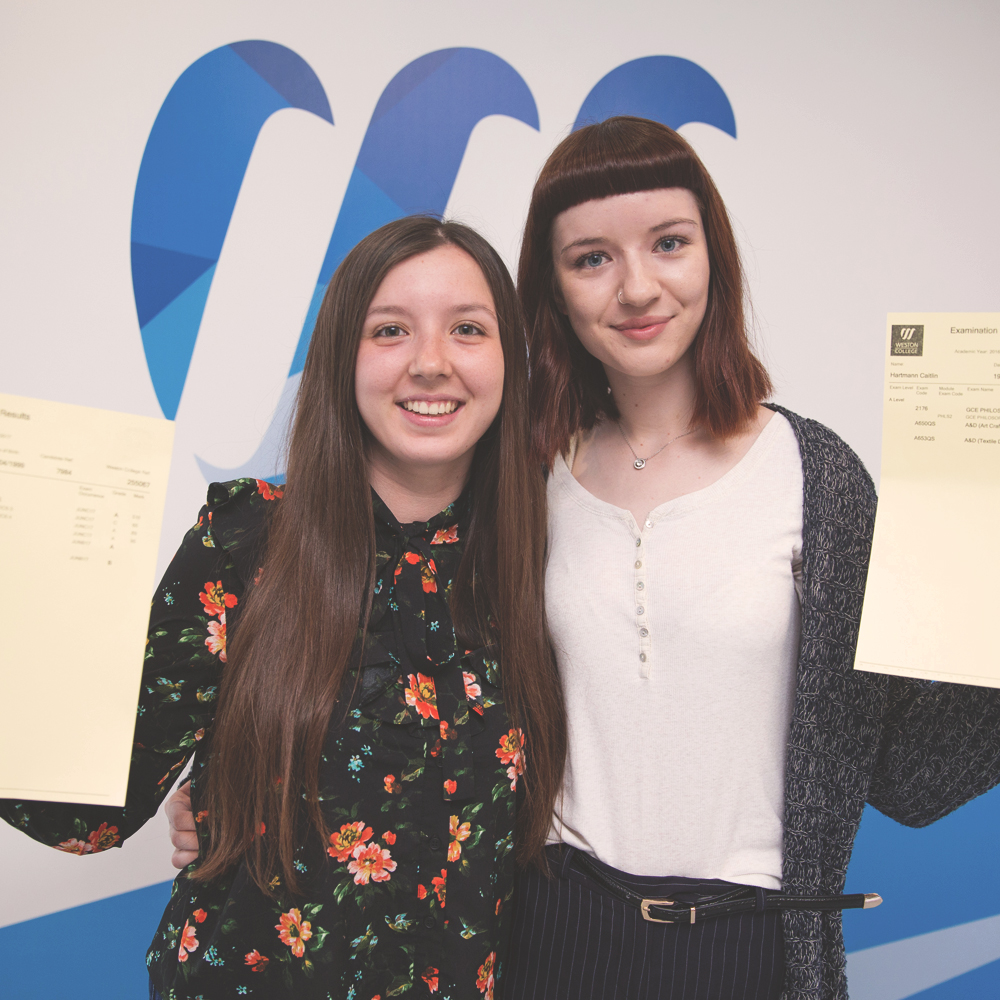 Sixth form students at Weston College collect their outstanding A Level results!
